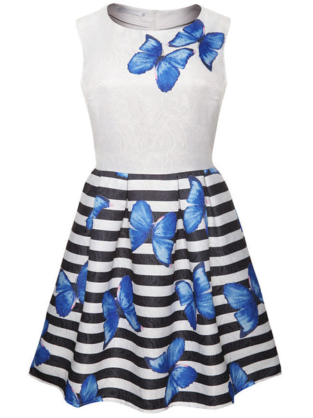 Butterfly Printed Striped Round Neck Skater Dress - Bychicstyle.com