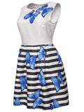 ByChicStyle Butterfly Printed Striped Round Neck Skater Dress - Bychicstyle.com