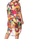ByChicStyle High-Low Round Neck Graffiti Chiffon Plus Size Shift Dress - Bychicstyle.com