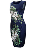 ByChicStyle Chic Floral Printed Round Neck Bodycon Dress - Bychicstyle.com