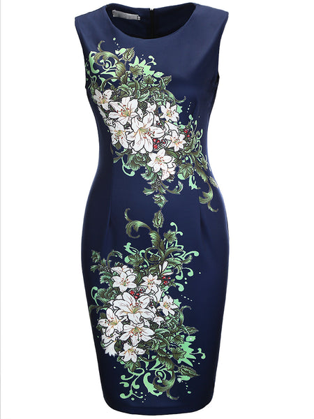 Chic Floral Printed Round Neck Bodycon Dress - Bychicstyle.com