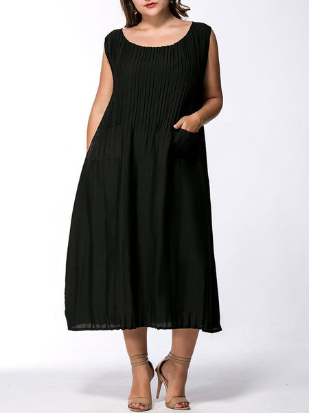 Round Neck Patch Pocket Solid Plus Size Maxi Dress - Bychicstyle.com