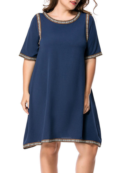 Contrast Trim Chiffon Round Neck Plus Size Shift Dress - Bychicstyle.com