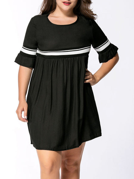 Casual Bell Sleeve Empire Striped Round Neck Plus Size Flared Dress