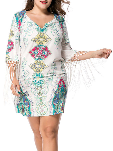 Split Neck Fringe Tribal Printed Plus Size Shift Dress - Bychicstyle.com