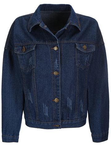 Casual Distressed Single Breasted Denim Bomber Jacket
