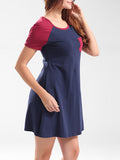 ByChicStyle Round Neck Color Block Cotton Shirt Dress - Bychicstyle.com