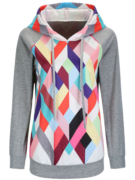 Colorful Geometric Drawstring Hoodie - Bychicstyle.com