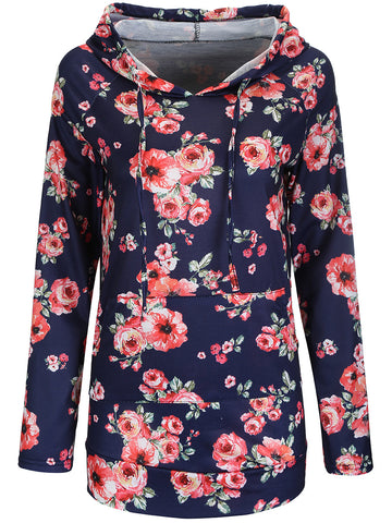 Casual Allover Floral Printed Kangaroo Pocket Hoodie
