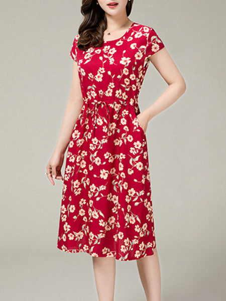 Floral Printed Drawstring Pocket Midi Skater Dress - Bychicstyle.com