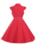 ByChicStyle Casual Turn Down Collar Contrast Trim Cotton Skater Dress
