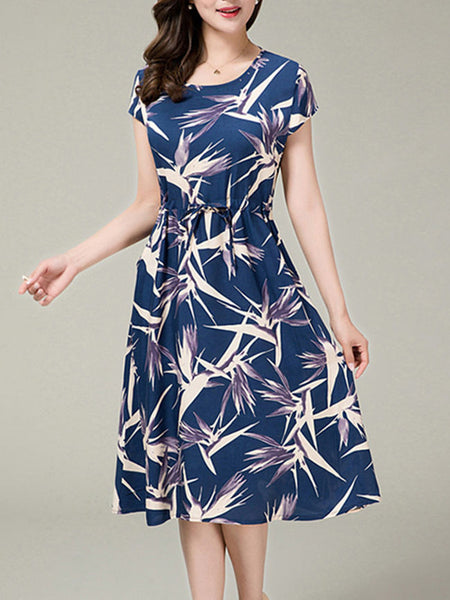 Casual Drawstring Round Neck Pocket Printed Midi Skater Dress