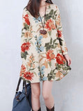 ByChicStyle Casual V-Neck Floral Printed Sack Shift Dress