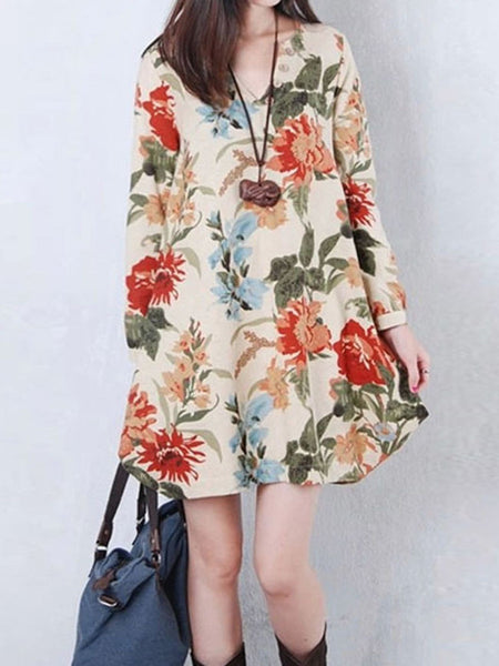 Casual V-Neck Floral Printed Sack Shift Dress