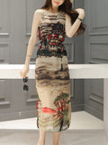 ByChicStyle Casual Awesome Printed Round Neck Slit Chiffon Maxi Dress