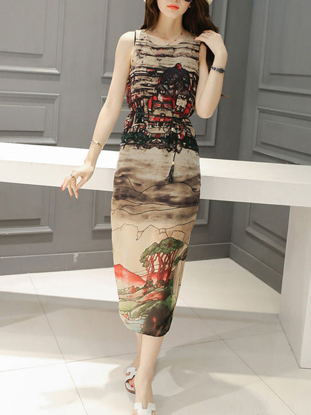 Casual Awesome Printed Round Neck Slit Chiffon Maxi Dress