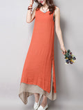 ByChicStyle Loose Asymmetric Hem Color Block Maxi Dress - Bychicstyle.com