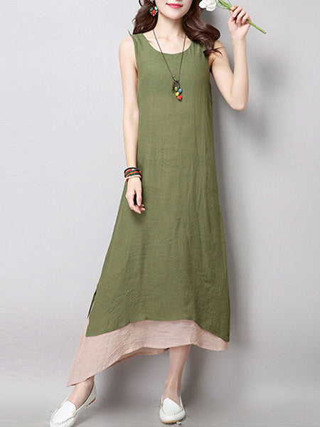 Loose Asymmetric Hem Color Block Maxi Dress - Bychicstyle.com