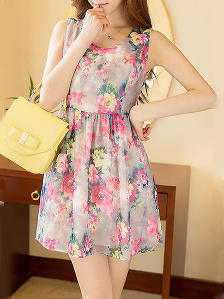 Floral Printed Round Neck Elastic Waist Chiffon Skater Dress - Bychicstyle.com