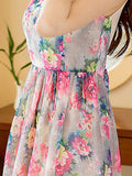 ByChicStyle Floral Printed Round Neck Elastic Waist Chiffon Skater Dress - Bychicstyle.com