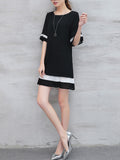 ByChicStyle Color Block Striped Chiffon Round Neck Shift Dress - Bychicstyle.com