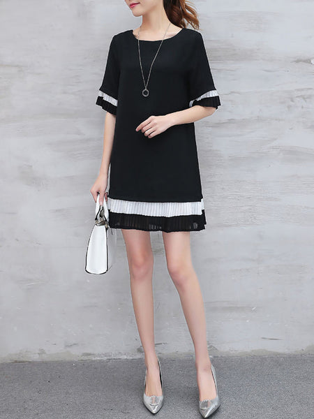 Color Block Striped Chiffon Round Neck Shift Dress - Bychicstyle.com