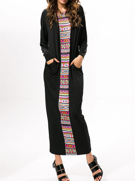 Geometric Patchwork Cotton Maxi Dress - Bychicstyle.com
