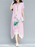 ByChicStyle Casual Asymmetric Hem Printed Round Neck Maxi Dress