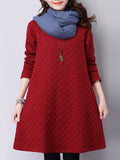 ByChicStyle Casual Round Neck Embossed Plain Shift Dress
