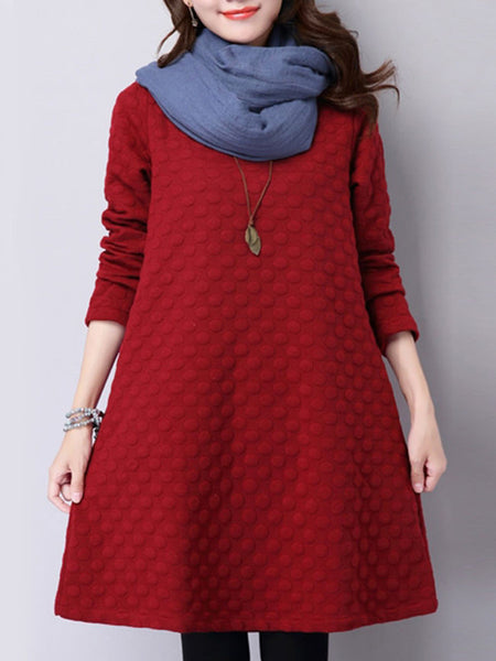 Casual Round Neck Embossed Plain Shift Dress