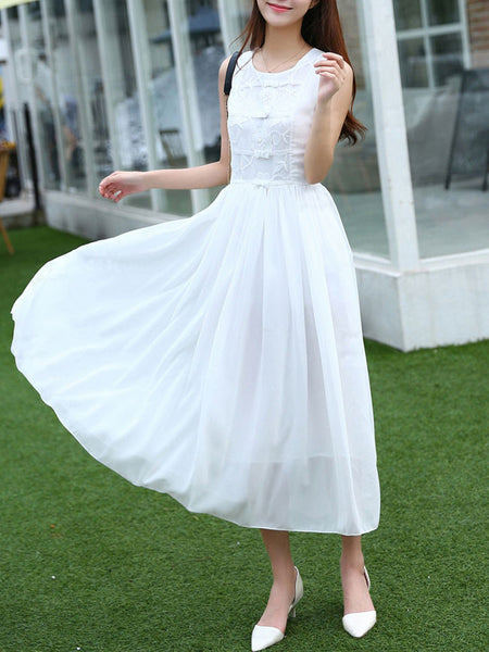 Decorative Lace Plain Chiffon Maxi Dress In White - Bychicstyle.com