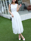 ByChicStyle Decorative Lace Plain Chiffon Maxi Dress In White - Bychicstyle.com