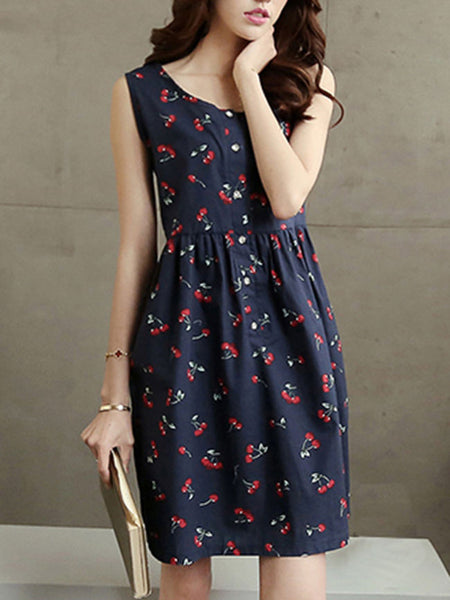 Round Neck Cherry Printed Skater Dress - Bychicstyle.com