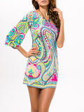 ByChicStyle One Sleeve Paisley Elastic Shift Dress - Bychicstyle.com