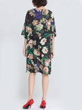 ByChicStyle Oversized V-Neck Floral Printed Chiffon Shift Dress - Bychicstyle.com