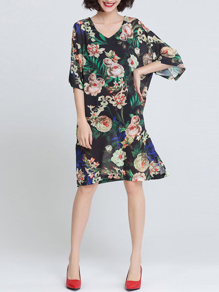 Oversized V-Neck Floral Printed Chiffon Shift Dress - Bychicstyle.com