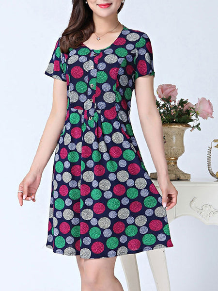 Colorful Polka Dot Skater Dress - Bychicstyle.com