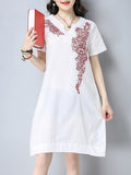 ByChicStyle Loose Split Neck Pocket Printed Shift Dress - Bychicstyle.com