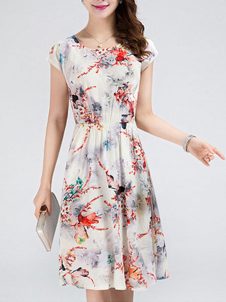 Simple Slit Pocket Printed Skater Dress - Bychicstyle.com