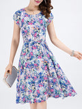 ByChicStyle Casual Pocket Round Neck Skater Dress In Tiny Floral Printed