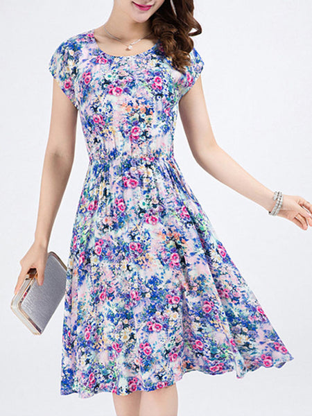 Casual Pocket Round Neck Skater Dress In Tiny Floral Printed
