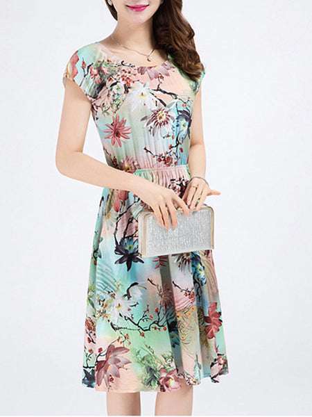 Casual Regular Pocket Skater Dress In Floral Printed