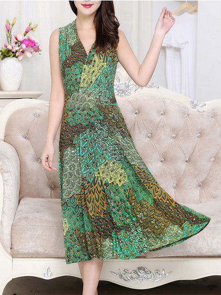 Casual V-Neck Peacock Feather Printed Maxi Dress