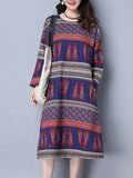 ByChicStyle Paisley Striped Pocket Round Neck Shift Dress - Bychicstyle.com