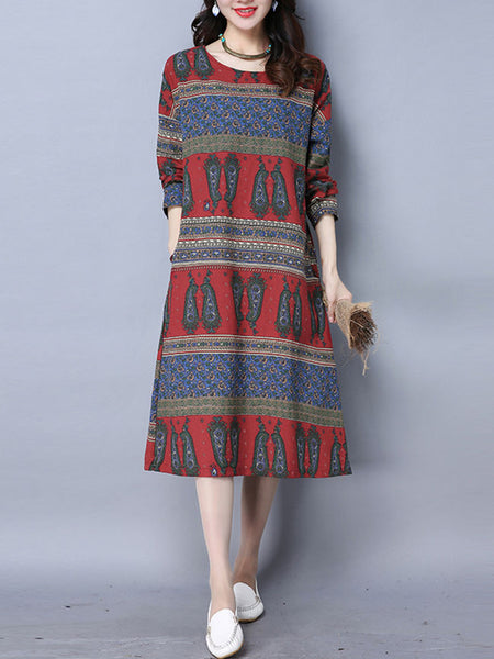 Paisley Striped Pocket Round Neck Shift Dress - Bychicstyle.com