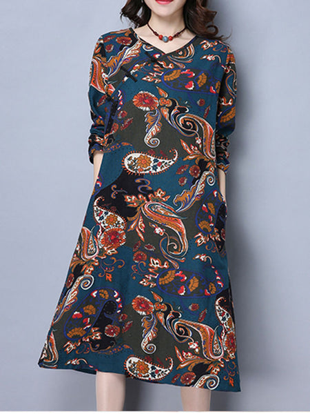Casual V-Neck Pocket Shift Dress In Ethnic Style Paisley Printed