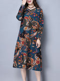 ByChicStyle Casual V-Neck Pocket Shift Dress In Ethnic Style Paisley Printed