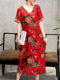 ByChicStyle Casual V-Neck Slit Pocket Floral Printed Loose Maxi Dress