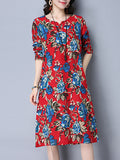 ByChicStyle Split Neck Pocket Printed Remarkable Shift Dress - Bychicstyle.com