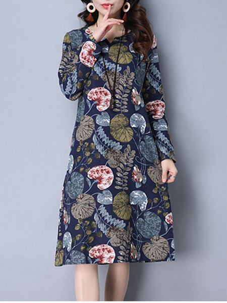 Split Neck Pocket Printed Remarkable Shift Dress - Bychicstyle.com